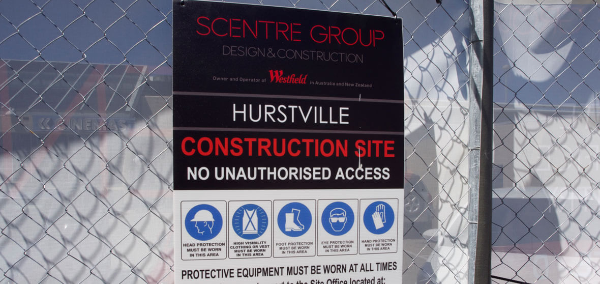 Scentre Group Corflute Construction sign